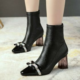 Womens Trendy Pointy Toe Bowknot Socks Shoes Block Mid Heels Ankle Boots C354